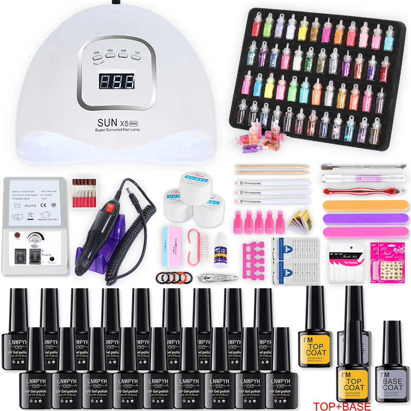 Nail Set And Nails Art Decorations For Nail Dryer 10/12/18 Colors Gel Nail Polish Kit Electric Nail Drill Machine Manicure Set