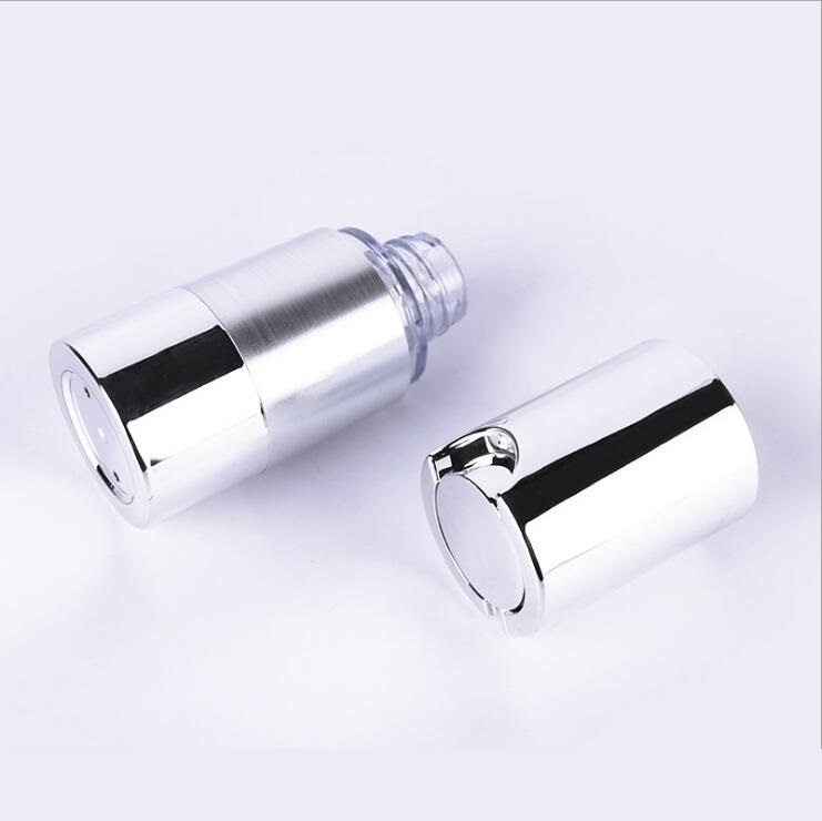 30ml UV  silver  airless vacuum pump lotion bottle with silver pump silver bottom base  used for Cosmetic Container