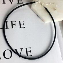 Conjunto de collar de cuero con dije de plata de ley 100% para mujer, colgante ajustable, joyería de calidad, DIY, 925