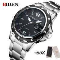 BIDEN Man Watch Stainless Steel Strap Watches Military Watch casual fashion wristwatches Waterproof Watch man relogio masculino