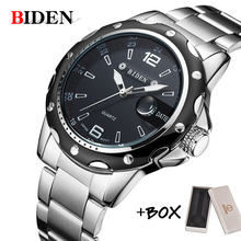 BIDEN Man Watch Stainless Steel Strap Watches Military casual fashion  wristwatches Waterproof man relogio masculino