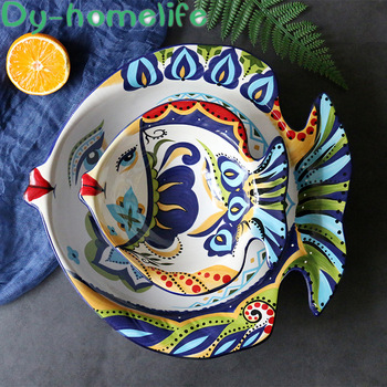 European Creative Fish-shaped Ceramic Bowl Restaurant Kitchen Home Salad Bowl Shaped Large Bowl Ceramic Fruit Plate Tableware
