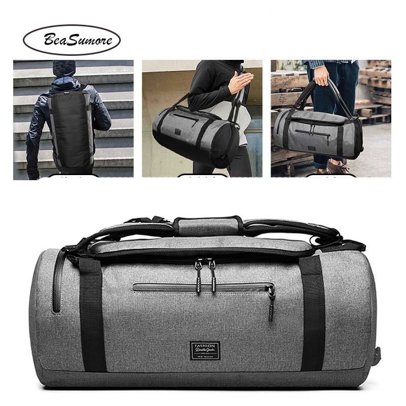 Image 2 - BeaSumore Men Multifunction Shoulder Backpack Short distance Travel Bag  High capacity Hand School Bag-in Backpacks from Luggage & Bags