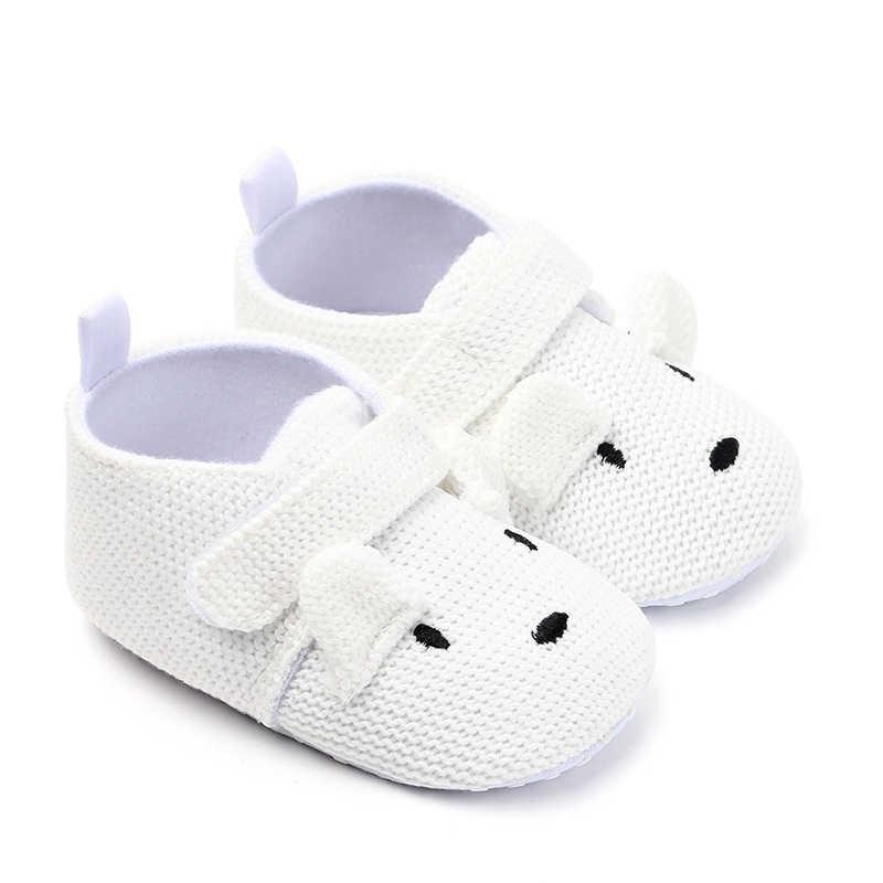 0-18 أشهر الوليد الأحذية الرضع المتسكعون طفل صبي فتاة أحذية لطيف الكرتون الحيوانات المضادة للانزلاق النعال محبوك حذاء طفل