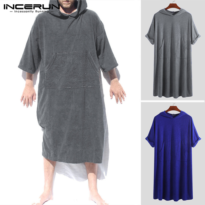INCERUN Quick-dry Mens Bathrobes Solid Half Sleeve Stylish Hooded Seaside Beach Robes Pockets Homewear Men Towel Bathrobe 2020