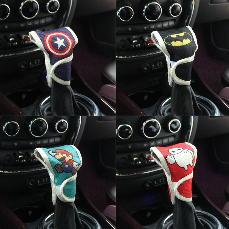 Universal Car Gear Grip Cover Cartoon Cotton Linen Gear Cover Gear Lever Decoration Cute Interior Trim Supplies Hand Automatic G