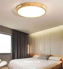 New Solid Wood Room Study Lamp  Led Ceiling Light Simple Modern Round Living Room Lamp Japanese Style Bedroom Lamp Light Fixture