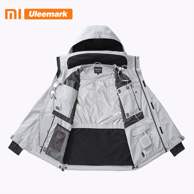 Xiaomi Men's Waterproof Jacket Lightweight Packable Rain Coat Sport Jacket Hooded Windbreaker Uleemark 2