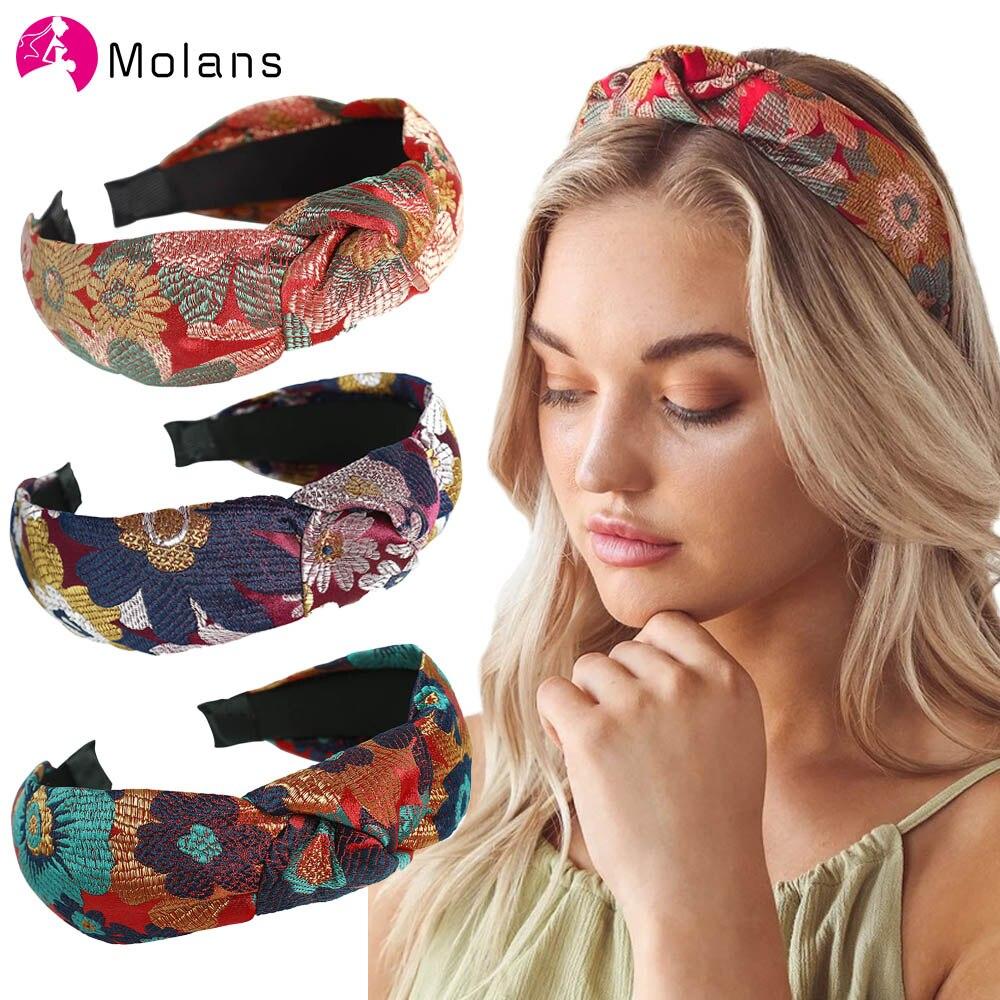 Molan широкая головная повязка с принтом крест узел ободок для волос женский Цветочный Эластичный обруч для волос обруч на волосы головной уб...