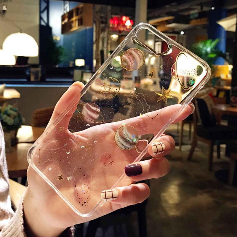Paillettes planète étoile étui souple Silicone couverture pour Samsung Galaxy S20 Ultra S10 S9 S8 Plus S10e S7 bord Note 5 8 9 10 Pro Lite 5G