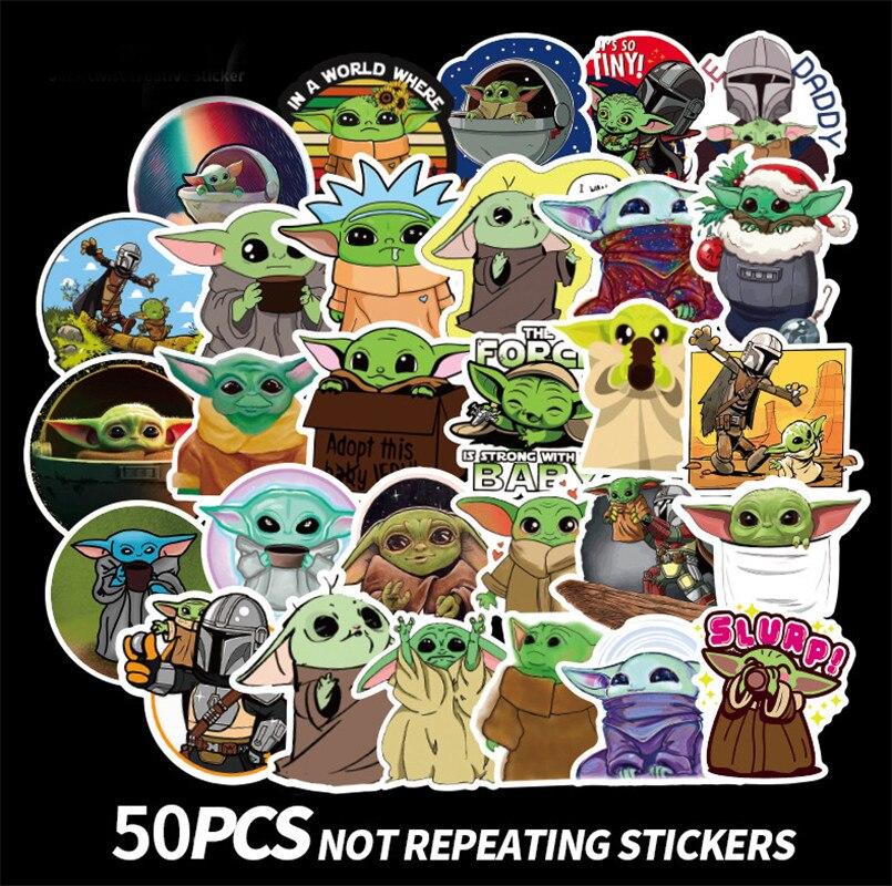 10/50pcs Cartoon Baby Yoda Star Wars The Mandalorian Stickers Waterproof PVC Skateboard Luggage Motorcycle Toys Sticker