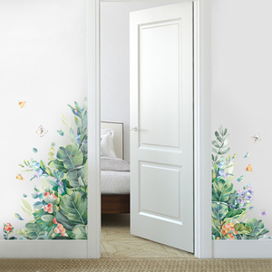 Removable Green Leaf Wall Stickers for Living room Bedroom Door Self-adhesive Refrigerator DIY Wall Decals Vinyl Art Wall Murals
