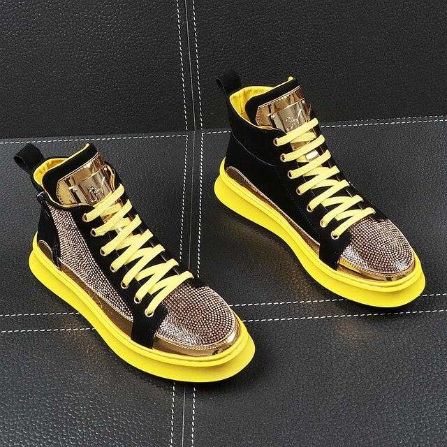 Zapatillas de deporte de alta calidad con purpurina dorada para hombre, zapatos planos con plataforma de cristal azul, plateados ostentosos, AD-38 3