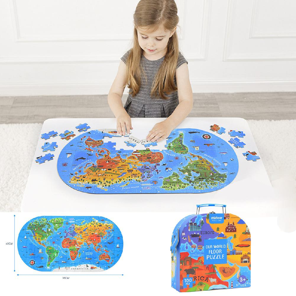Kuulee World Map Jigsaw Puzzle Kids Educational Toys Culture Geography Recognition Toy Gift 100PCS/Set