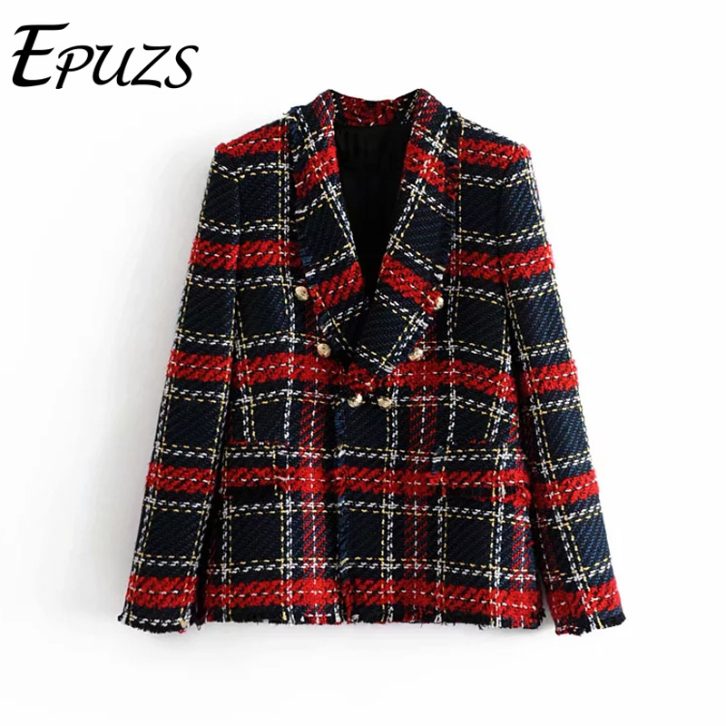 Vintage Red Plaid Tweed Blazer Coat Women Double Breasted Tassel Suit Jacket Winter Casual Blazer Femme Lady Office Outerwear