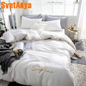 Image 1 - Svetanya egyptian Cotton Bedding Set king queen double size flat fitted Sheet Bedlinen