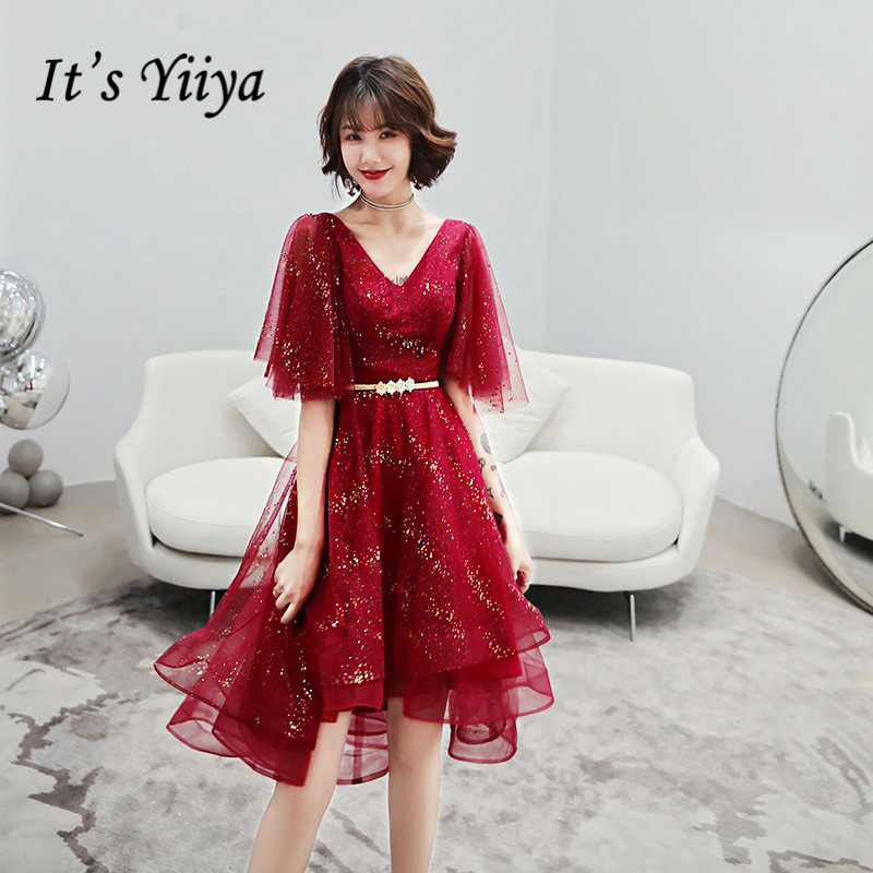 It's Yiiya Burgundy Prom Gowns Knee Length Women Party Dresses A Line Irregular Formal Gowns Vestido Largos De Fiesta K276