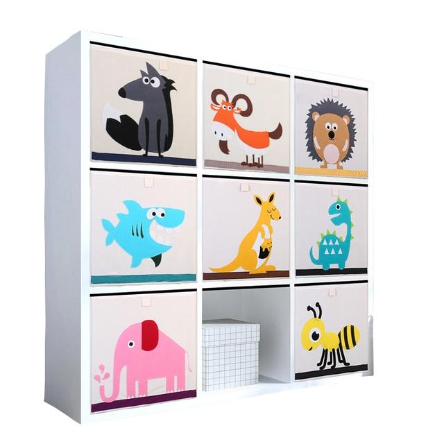 New 3D Cartoon Animal Toy Storage Box Folding Storage Bins Wardrobe Drawer Organizer Clothes Storage Basket Kids Toys Organizer