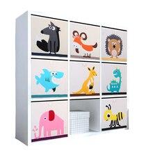 Yeni 3D karikatür hayvan oyuncak saklama kutusu katlanır eşya kutuları dolap çekmece organizatör giysi saklama sepeti çocuklar oyuncak organizatör