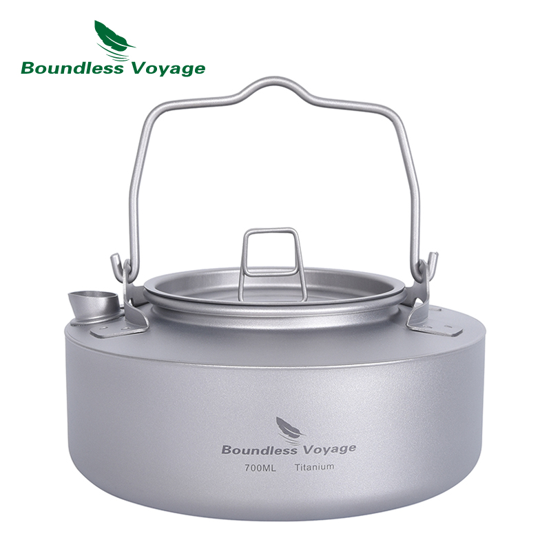 Boundless Voyage Titanium 700ml Tea Kettle with Folding Handle Outdoor Camping Ultralight Portable Teapot Ti3100D