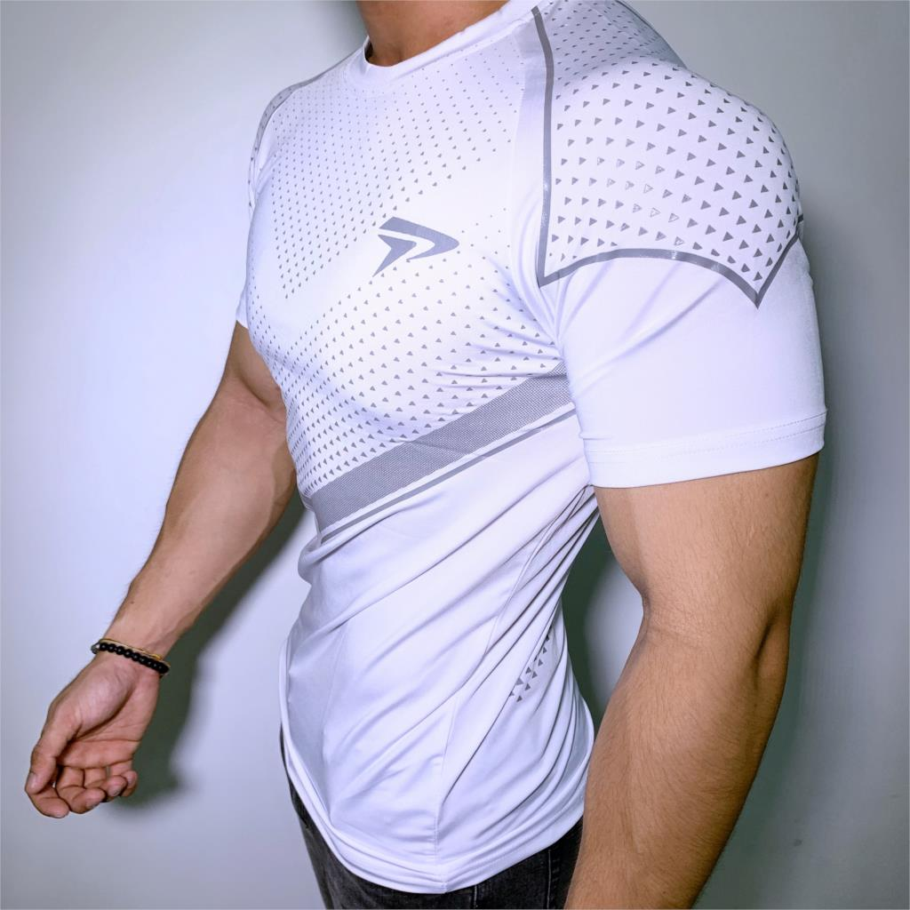 New Running Sport T-shirt Mens Skinny Quick dry Shirts Gym Fitness Training Superelastic Tee Tops Male Jogging Workout Clothing