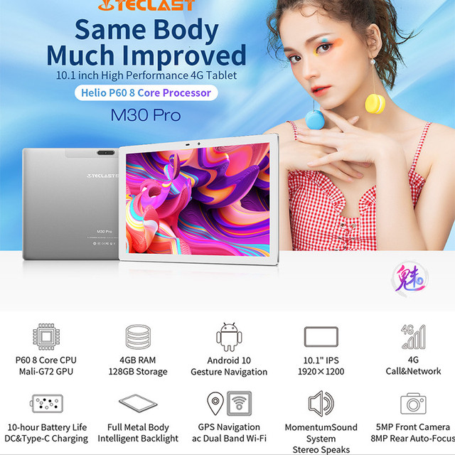 Teclast M30 Pro 10.1 Inch Tablet P60 8 Core 6GB RAM 128GB ROM Android 10 Tablets PC 1920x1200 IPS 4G Call Dual Wifi GPS 3