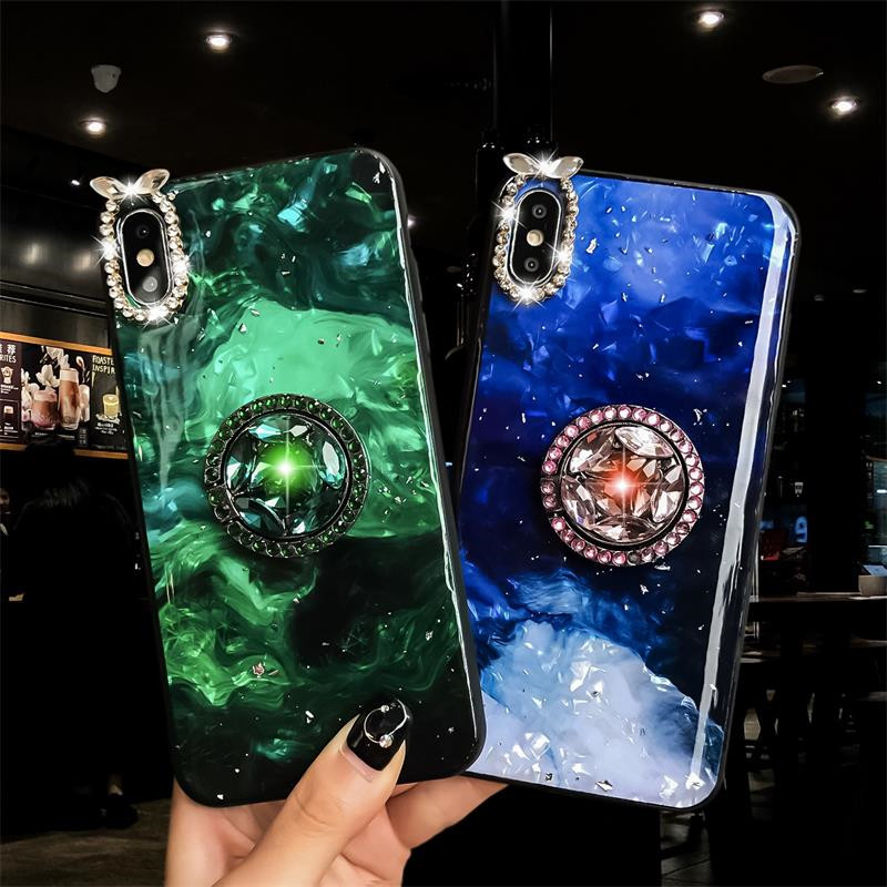 Green-emerald-marble-pattern-diamond-extension-bracket-shiny-silicone-cover-case-for-iphone-MAX-XS-XR