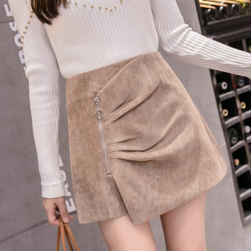 2019 Autumn Winter New Corduroy Shorts Skirts Womens Fashion Irregular Zipper High Waist Shorts Female Khaki/Black Culottes