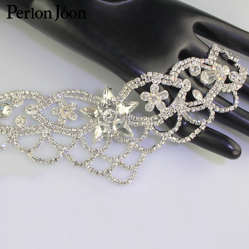 1pcs DIY welding Crystal patch Rhinestone Neckline for the wedding dress hand sewing Clothing Accessories YL008 in Rhinestones from Home Garden