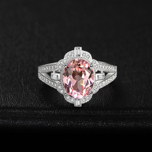 Image 2 - JewelryPalace בציר פיצול Shank 3ct סגלגל נוצר Morganite ספיר מתכוונן להרחיב טבעת 925 כסף סטרלינג תכשיטי ביצוע