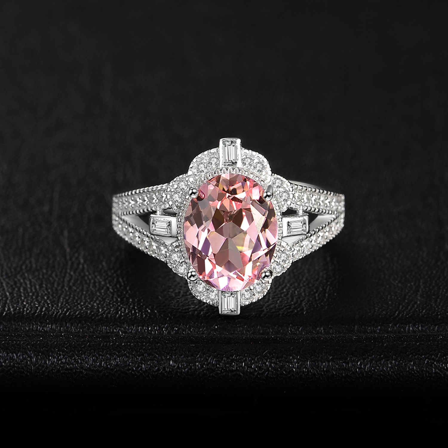 Image 2 - JewelryPalace Vintage Split Shank 3ct Oval Created Morganite Sapphire Adjustable Open Ring 925 Sterling Silver Jewelry MakingRings   -