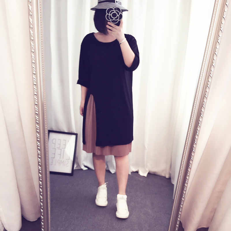 2018 New Products Large Size Dress Slit Mid-length Straight Skirt Fat Mm Slimming Round-neck Long-sleeved Dress 252