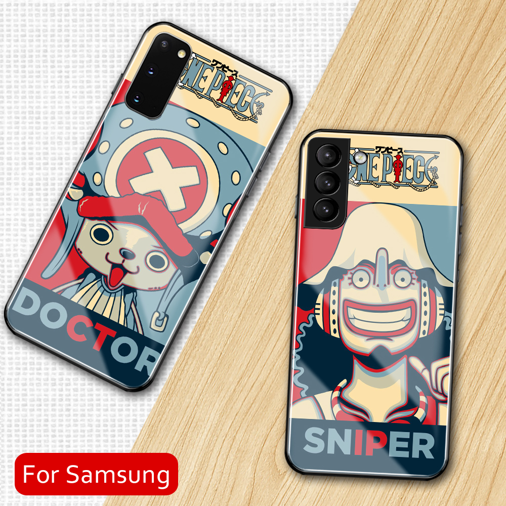 Anime Cute One Piece Art Tempered Glass Case For Samsung Galaxy S8 S9 S10 S20 S21 Note 8 9 10 20 Plus S10e Ultra Cover