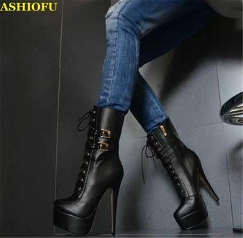 ASHIOFU Handmade Ladies High Heel Platform Boots Shoelace Platform Sexy Party Prom Ankle Boots Club Evening Fashion Short Boots