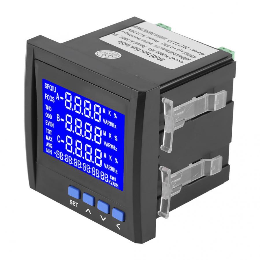 Compteur d'énergie multifonction 3 phases tension de courant électrique fréquence compteur d'énergie V A Hz kWh RS485 noir