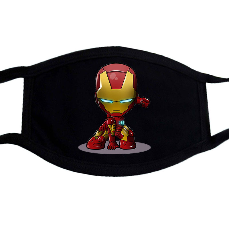 Marvel One Piece Masks Dust Face Mask Washable Iron Man Hip Hop Anime Mask Cartoon Cosplay Costume Accessory Black Casual