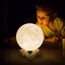 LED Light Tricolor Change 3D Print Moon Lights USB Charge Touch Switch Gifts For Children Decoration Bedside Table Desk Lighting