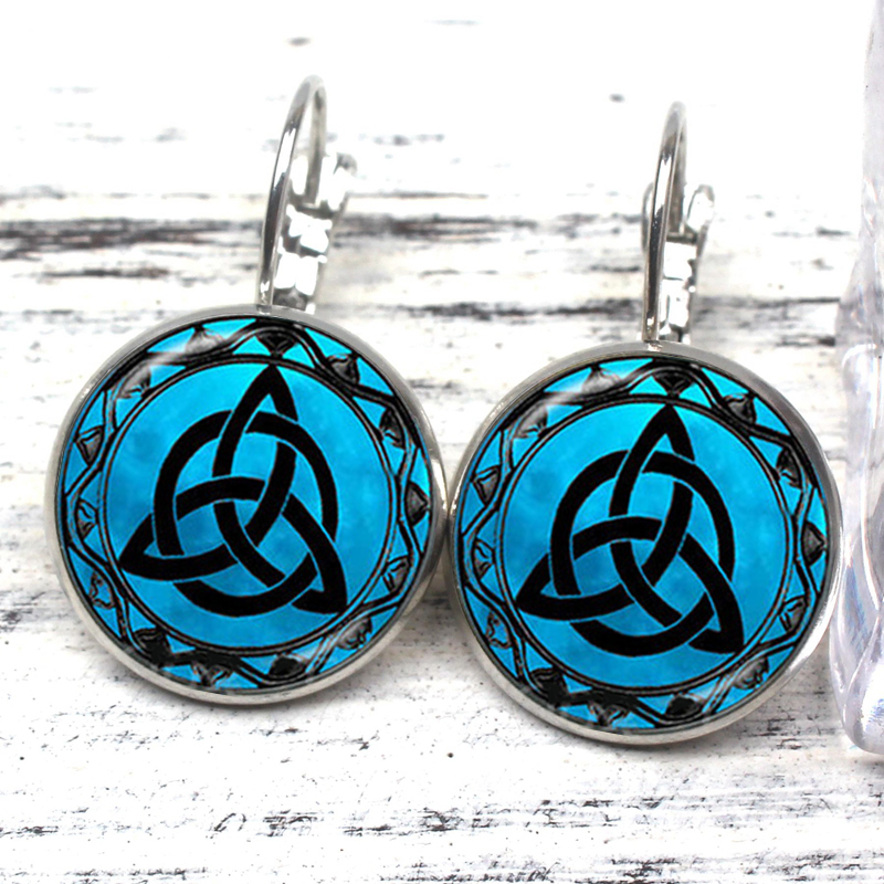 Hot Vintage Celtic Pattern Glass Convex Dome Dome Earrings Amulet Injury Treatment FIT Religious Souvenir Stud Earrings Souvenir in Drop Earrings from Jewelry Accessories