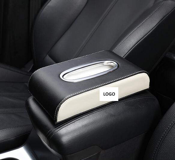 Leather Car Armrest Tissue Box Auto Pumping Cassette Holder Removable Paper Napkin Box Organizer Fit For BMW