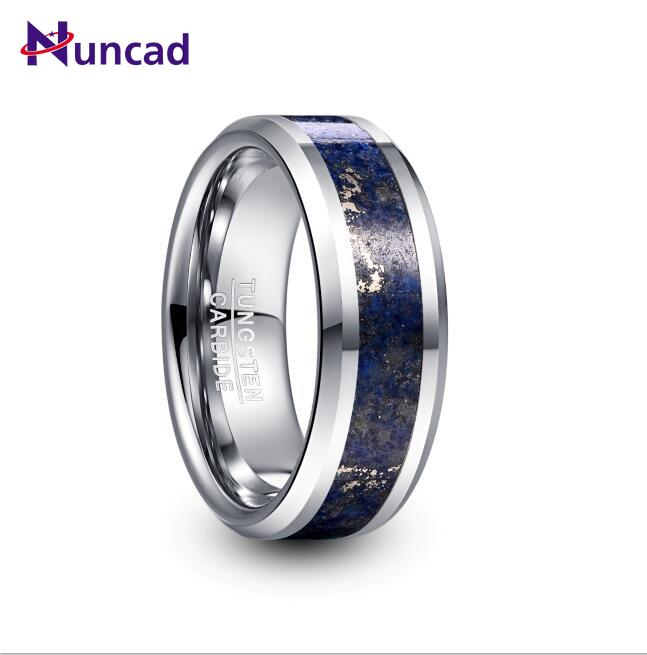 NUNCAD 8mm Wide Tungsten Carbide Ring Wedding Engagement Steel Color Inlaid Lapis Lazuli Tungsten Steel Men's Ring T230R image