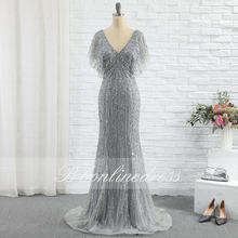 Bbonlinedress Серебряное Вечернее платье русалки 2020 v образный