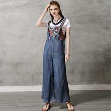 Summer Women's Denim Jumpsuit 2020 Vintage Woman Bodysuit Cotton Embroidery Co