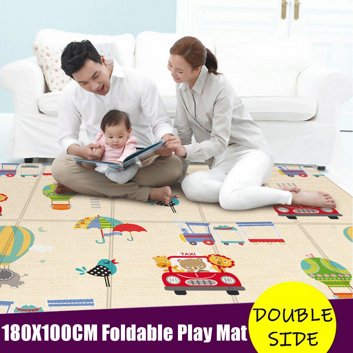 Folding Play Mat Thick Baby Crawling Cover Rug 180x100cm Waterproof Floor Carpet Climbing Pad Foldable Baby Games Mats Kids Rug
