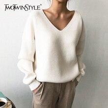 Deuxtwinstyle tricoté coréen automne chandail pour les femmes col en V à manches longues irrégulière ourlet femelle chandails surdimensionné mode nouveau 2019