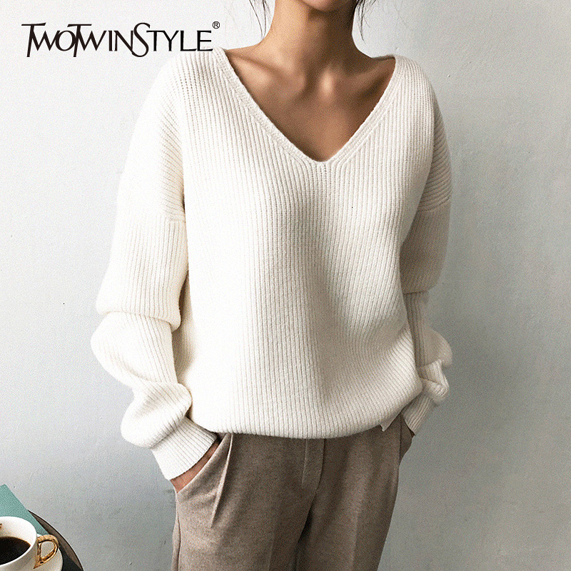 TWOTWINSTYLE Knited Korean Autumn Sweater For Women V Neck Long Sleeve Irregular Hem Female Sweaters Oversized Fashion New 2019