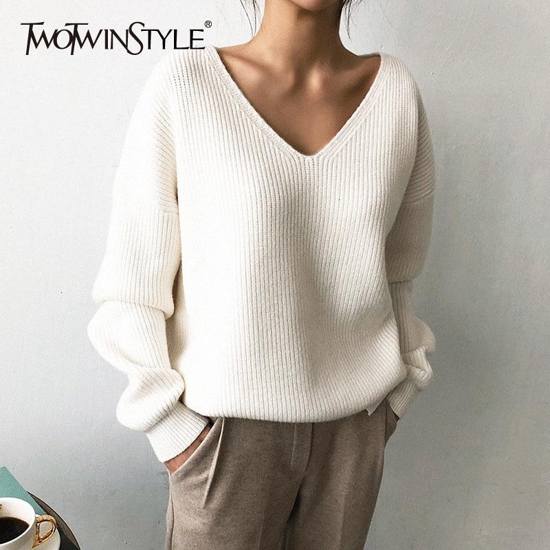 TWOTWINSTYLE Knited Korean Autumn Sweater For Women V Neck Long Sleeve Irregular Hem Female Sweaters Oversized Fashion New 2020