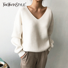 TWOTWINSTYLE Knited koreański, jesienny sweter dla kobiet V Neck z długim rękawem nieregularne brzegi swetry damskie ponadgabarytowe moda nowy 2019