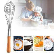 цена Stainless Steel Egg Beaters hand Semi-automatic Egg Beater Wood handle Egg Beaters Kitchen Gadgets Egg Stirring Whisk Rotary онлайн в 2017 году