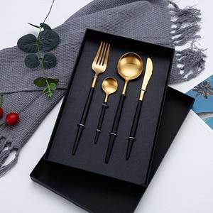 4Pcs/set Black Cutlery Set Stainless Steel Dinnerware Set Gold Flatware Fork Knife Spoon Wedding Silverware Set Drop Shipping(China)