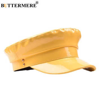 BUTTERMERE Patent Leather Military Hat Women Solid Yellow Fashion Hats Ladies Flat Cap Spring Autumn Female Brand Sailor